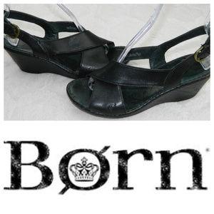 BORN Wedge SANDALS Heels BLACK LEATHER Sz. 10